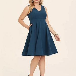 Pink Martini Teal Green A-Line Flare Dress Preppy